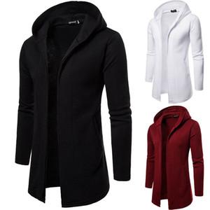 Casaco com capuz casaco longo Cardigan Casaco Comprido Windbreaker Manto de homens camisola de malha