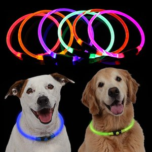 2019 new Adjustable 70mm Pet Dog Collar LED Night Flashing Luminous Dog Collars Optical fiber tube Neck Collar for Dog Collar LED Light