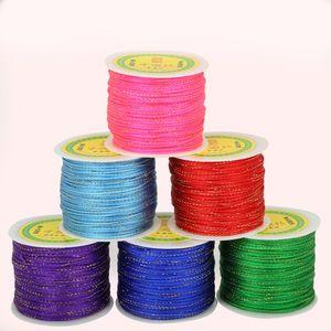 2 мм 100 ярдов / рулон корейский шелковый шнур китайский узел шнур макраме веревка для изготовления браслет строка нить DIY ювелирные аксессуары