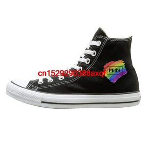 Unisex Casual Shoes Boys and Girls Sports Shoes LGBT Pride Canvas Shoes High Top Casual Black Sneakers Unisex Style 135