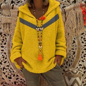 Molla 2019 specificamente per contanti transfrontaliera pullover incappucciato femminile maglione maglione HC0008 blu V-collo