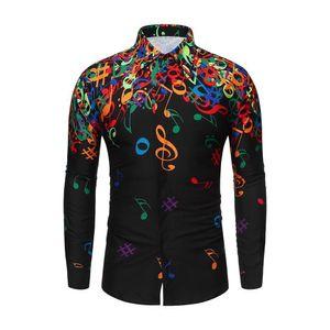 Feitong Men Casual Novelty Musical Note Pattern Casual Long Sleeves Shirt Top Blouse