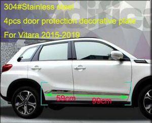 Yüksek kaliteli paslanmaz çelik 4adet yan kapı vücut dekorasyon döşeme, kapı sucff çubuğu, Suzuki Vitara 2015-2019 için logolu koruyucu plaka