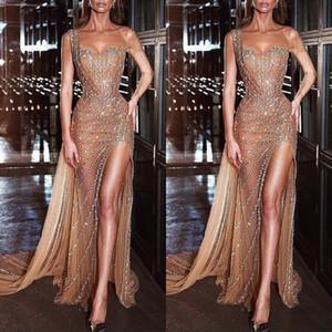 Prom Dresses oro una spalla perline merletto paillettes argento cristallo di alta laterali spaccati sexy arabi sera Gowns Vestito da partito convenzionale