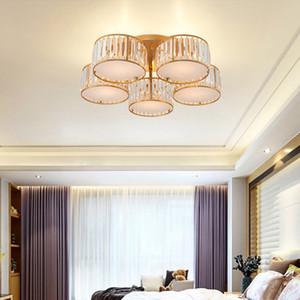 객실 침실 연구 거실을위한 천장 램프 LED 조명 현대 라운드 크리스탈 샹들리에 조명 천장 조명 골드 크리스탈 샹들리에
