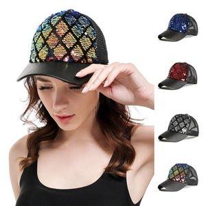 Мода Алмазный Lattice Hat Разноцветный Mermaid Кусочек DIY Бейсбол Mesh Cap Outdoor Summer Travel Beach Sun Hat TTA957-6