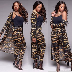 New Winter Women's Casual Gold Chains Print Black Long Cardigan Cloak and Long Pant Party Club Cocktail Slim Fit Unique Two Piece Pants