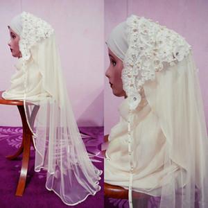 Elegantes árabes musulmanes velos de novia con perlas encaje Hijab Dubai Arabia Saudita 2019 Nuevo velo de novia