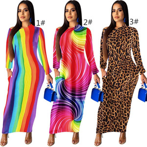 women designer skirt long sleeve one piece dress high quality skinny maxidress sexy elegant luxury fashion skirt Ankle-Length dress klw2119