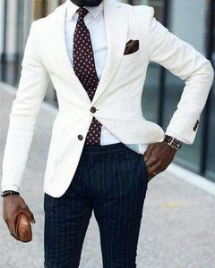 Ivory Custom Made Men Suits Groom Tuxedos Stripe Pants Formal Business Suits Groomsmen Man Blazer 2Piece(Coat+Pant)