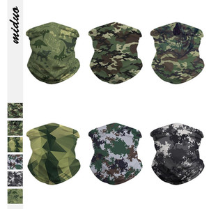 US STOCK Camo 3D printed Seamless Face Mask Mouth Cover Bandanas for Dust, Outdoors, Sports Fishing Running headbands for men wome