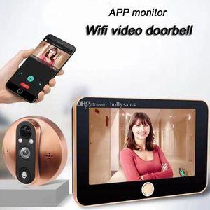 4.3 controle Inch wireless APP Monitor de Wifi inteligente Peephole Vídeo Doorbell HD1080P Câmera Night Vision PIR detecção de movimento para uso doméstico