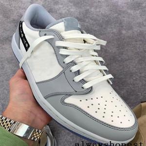 2020 Novas 1s Chegada 1 OG D Low luxo Mens tênis de basquete Grey Crystal White designer de fundo Sneakers Tamanho US 7-12 Com Box