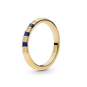 Мода полоса Кольцо для Pandora ювелирных изделий гальванического 18K Gold Саншайн Ladies кольца Сувениров с первоначально коробкой