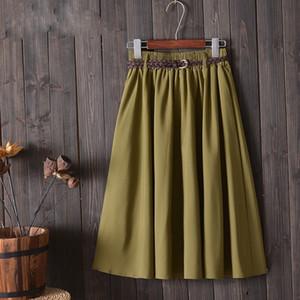 Pleated Skirt Women Skirts Midi Knee Length Summer Skirt Polyester Women With Belt 2019 Fashion Korean Ladies Pleated School Skirt Female