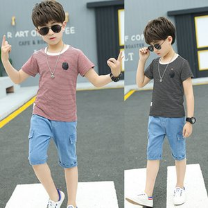 Summer boy clothes handsome striped short-sleeved T-shirt + fashion half-length denim sports two-piece suit Quality kids' wear