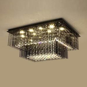 2 층 현대 크리스탈 ceiiling 샹들리에 검은 램프 AC110V 220V 광택 LED 거실 침실 MYY 조명