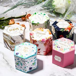 Hexagon caramella di cerimonia nuziale Fiore modello Stampato Candy Box Wedding Baby Shower festa di compleanno favore e decorazione dono