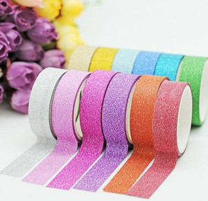 Glitter Ruban Rubans adhésifs décoratifs bricolage scrapbooking Photo Couleur Masking Tape Fournitures scolaires Stationery Office de gros 2016
