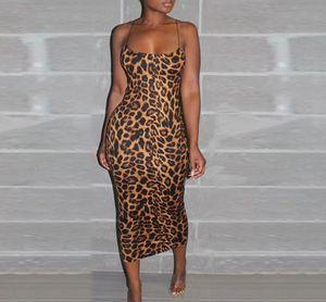 Casual Club Ropa para mujer atractivo del diseñador del leopardo de Bodycon de los vestidos de verano de 2020 nuevo de la manera Mujer Ropa Noche