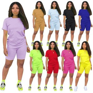 Verano Las mujeres tracksuits 2 de dos piezas de este conjunto ropa de color sólido camisetas pantalones cortos diseñador de ropa de mujer para correr chándal, más tamaño de la ropa