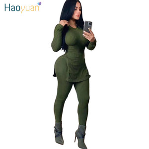 ZOOEFFBB Sexy Two Piece Knitted Set Women Rave Clothing Long Top and Bodycon Pant Suit 2 Piece Fall Winter Outfits Matching Sets T200630