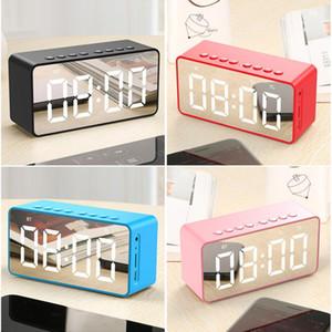 Suporte sem fio bluetooths Speaker Subwoofer LED Espelho despertador TF FM AUX portátil LoudSpeaker cabeceira baixo caixa Speaker