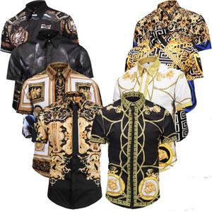 2019 A última moda tendência Magro dos homens camisa dos homens de mangas compridas cor retro impressão camisa de vestido dos homens camisa de algodão casual Medusa M-2XL QBQ