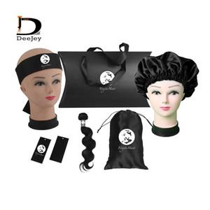 Custom LOGO Hair Extension Bundles Packaging Sets Human Virgin Hair Adhesive Wrap Hang Tags Bonnets Satin Package Bags Box kit