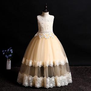 vestido de bola barato Flor Meninas Vestidos Tulle Lace Top espaguete crianças desgaste formal para o partido frete grátis criança das meninas Pageant Vestidos