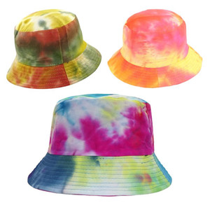 Donne Uomini Harajuku Tie-Dye contrasto colorato Bucket Hat Reversible Packable tesa larga Visiera Hip Hop Cotton Cap Pescatore