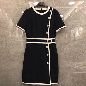 2019 Designer Femmes Dress O Cou Manches Courtes Tête De Tête Boutons Robes Femmes Milan Piste Designer Dress 420001
