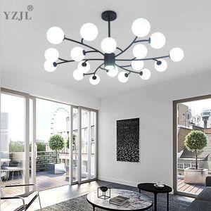 Para Salão Lustres Cafe industrial Nordic vidro brilho plafonnier minimalista Quarto Candelabro Iluminação