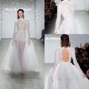 2020 Boho alta Neck Lace Wedding Dress Mira Zwillinger Appliqued Praia Vestidos de noiva exterior manga comprida Vestidos de casamento Vestidos de novia