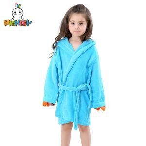 Michley Çocuklar Banyo Elbiseler Sevimli Bebek Kız Roupao Kapşonlu çocuk Havlu Dinozor Bornoz Plaj Mayo Erkek Pijama Jy0245 J190520