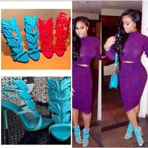 Suede Frauen Kardashian Cruel Luxus Sommer Pumpen poliert goldene Metallblatt-Winged Gladiator-Sandelholz-Absatz-Schuhe mit ursprünglichem Kasten
