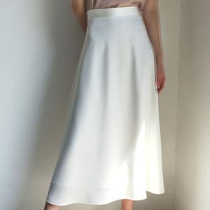2020 Vintage Women A-Line White Skirt High Waist Summer Long Skirt Pure Color Women Satin Maxi Skirts Saia Faldas Jupe Femme