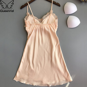 Queenral Sexy Silk Satin Nightgown For Women Lace Nightdress Sleeveless Nighties V-neck Night dress Summer Nightwear CX200606