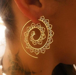 Neue Weinlese Tribal Indian Spiral-Band-Ohrringe für Frauen Charming Fälschungs-Ohr-Piercing-Schmuck, Gold, Silber jm002