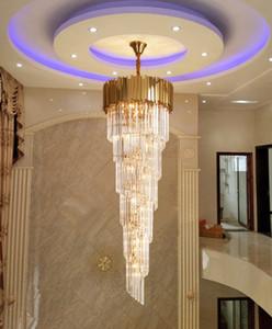Lampadario pendente della luce di cristallo di lusso lungo moderno dell'oro di illuminazione per la scala Infissi ampio corridoio coperto Stair Villas lampada LED Cristal