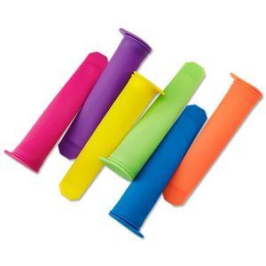 Popsicle Mold 6 Colore fai da te silicone Popsicle Holder strumenti di stampo multicolore gelato manica ambientale con la copertura merci in azione 1 6zg V