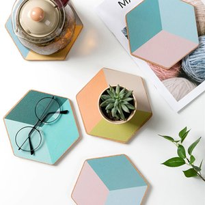 Creative Geometric Coaster Soft Wooden Placemat Candy Colorful Table Mat Insulation Anti-hot Pot Bowl Mat Plate Kitchen Decor T200703
