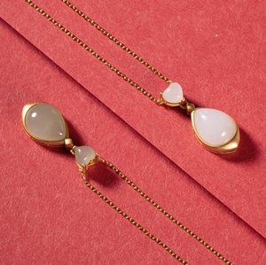 S925 pure silver natural Hetian jade white jade sapphire personality water drop lady temperament pendant set chain