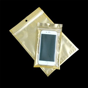 Mobile Phone Case Retail Packaging Package Storage Bag for iPhone 4 4S 5 5S 6 Plus Samsung Plastic Zip Lock Poly Pack Gold Clear