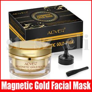 ALIVER Retirer Blackhead Masque d'or magnétique Kit de nettoyage profond comédons Masques Soin du visage de la peau de boue avec aimant Masque magnétique avec aimant