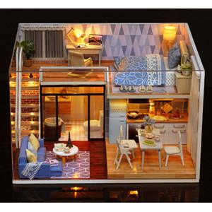 Doll House Carino Camera L-023 Blu Tempo Diy Casa coprire con Furniture Music Luce Modello in Miniatura Decor regalo giocattoli per Childern Y19070503