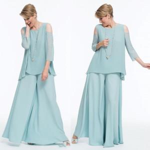 Mint Green Chiffon 2020 neue Mutter der Braut Hosen Anzüge Scoop Neck Wedding Guest Kleid bodenlangen lange Hülsen-Abendkleider