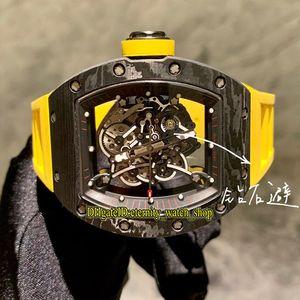 NT Top Versione RM 055 NTPT Tutti in fibra di carbonio di scheletro di caso Dial orologi Mens Watch Strap Giappone NH automatico Sapphire gomma RM055 Designer