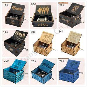 62 Stiller Thrones Harri Potter Ahşap Müzik Kutusu Antik Ahşap Müzik Kutusu Oyun Doğum Günü Hediyeleri E1201 için Ahşap El Yapımı Müzik Boxs Oyma
