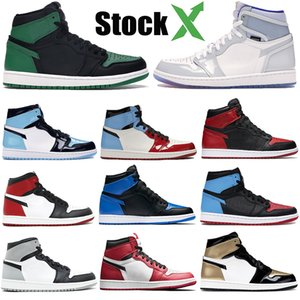 Mens jordan 1 retro haute chaussures de basket OG 1s NRG igloo interdit caméléon ombre blanc noir orteil impression d'éléphant Chicago royal Track Red Sneakers 40-47